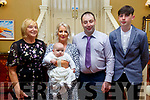 Baby Daithi  with his parents Olive & James Kissane, Liselton and god parents Anne Kissane & Oisin Ryall who was christened in Ballydonoghue Church by Fr. Lawlor on Saturday last and afterwards at the Listowel Arms Hotel.