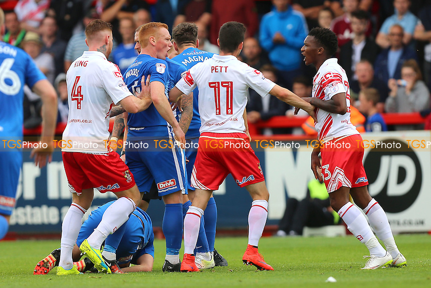 Tempers flare after a foul by Kgosi Ntlhe of Stevenage (R) during Stevenage vs Hartlepool United, Sky Bet EFL League 2 Football at the Lamex Stadium on 3rd September 2016