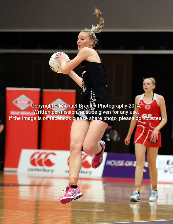 28.10.2014 Silver Ferns Katrina Grant in action during the Silver Ferns V England netball match played at the Rotorua Events Centre in Rotorua. Mandatory Photo Credit ©Michael Bradley.