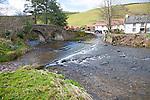 Bridge over Badgworthy Water river, Lorna Doone Farm, Malmsmead, Exmoor national park, Devon, England