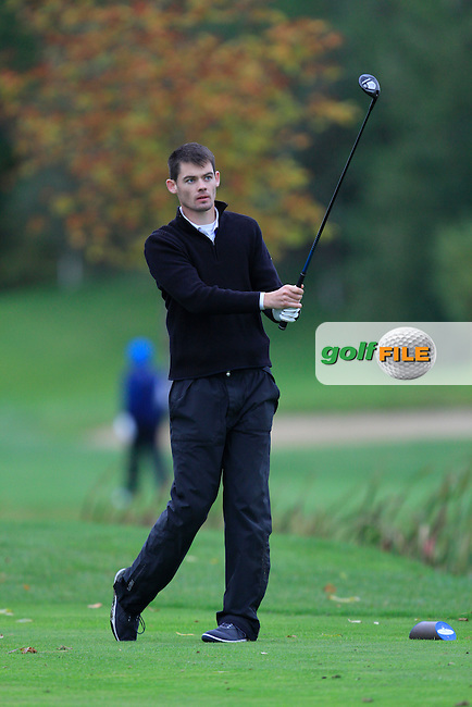 David Reilly (Westmanstown G.C) on the 15th tee during Round 4 of The Cassidy Golf 103rd Irish PGA Championship in Roganstown Golf Club on Sunday 13th October 2013.<br /> Picture:  Thos Caffrey / www.golffile.ie