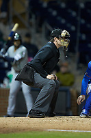 Home plate umpire Richard Riley works the International League game between the Gwinnett Braves and the Durham Bulls at Durham Bulls Athletic Park on April 20, 2019 in Durham, North Carolina. The Bulls defeated the Braves 3-2 in game two of a double-header. (Brian Westerholt/Four Seam Images)