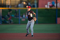Salem-Keizer Volcanoes shortstop Jett Manning (10) throws to first base during a Northwest League game against the Hillsboro Hops at Ron Tonkin Field on September 1, 2018 in Hillsboro, Oregon. The Salem-Keizer Volcanoes defeated the Hillsboro Hops by a score of 3-1. (Zachary Lucy/Four Seam Images)