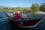 Kristin Troy with Husband Mark and son Sylus on a dory run down the Salmon River.