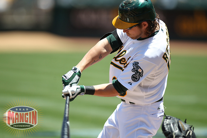 OAKLAND, CA - JUNE 16:  Josh Reddick #16 of the Oakland Athletics bats against the San Diego Padres during the game at O.co Coliseum on Saturday, June 16, 2012 in Oakland, California. Photo by Brad Mangin