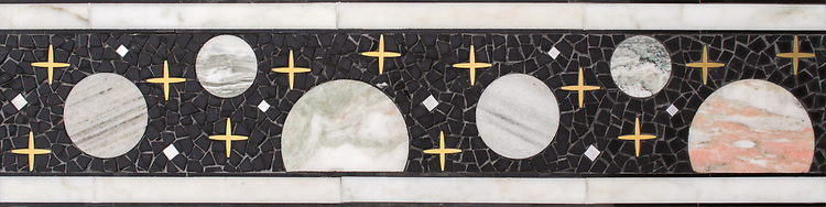 """9"""" Personal Space border, a hand-cut and waterjet mosaic shown in tumbled Nero Marquina, Desert Pink, Soccoro Gray, Blue Mac, Blue Bahia, Spring Green, and Alpi with polished Red Travertine, Cirrus, Rose Noriega, Alba Chiara, Cippolino, Honey Onyx, White Onyx, Azure, and honed Horizon, with Brass, Aluminum, Shell, and 24k gold, is part of Cean Irminger's second KIDDO Collection, """"KIDDO: Wunderkammer® Edition"""" for New Ravenna."""