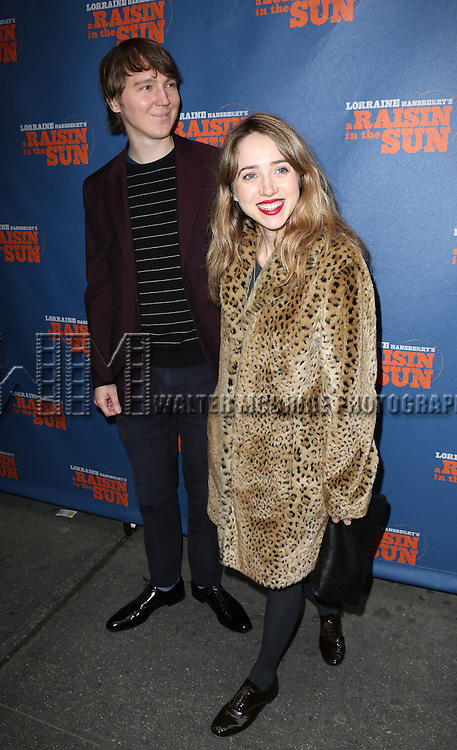 Paul Dano and Zoe Kazan attending the Broadway Opening Night Performance of 'A Raisin In The Sun'  at the Barrymore Theatre on April 3, 2014 in New York City.