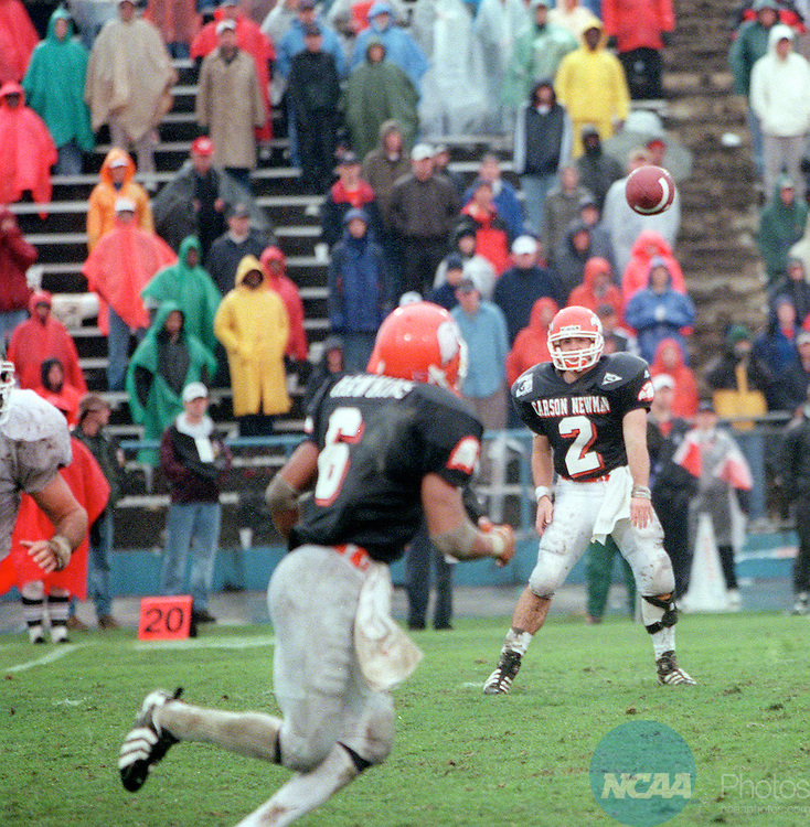 12 DEC 1998: Carsonâ??Newman quarterback Zac Allen (2) throws a pass to runningback Heath Hawkins (6) during the Division II Football Championship held at Braly Municipal Stadium in Birmingham, AL.  Northwest Missouri State defeated Carsonâ??Newman 24-6 for the championship title.  Paul Adams/NCAA Photos.