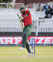 Mashrafe Mortaza (Bangladesh) defends hurriedly during Pakistan vs Bangladesh, ICC World Cup Cricket at Lord's Cricket Ground on 5th July 2019