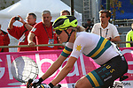 Brodie Chapman (AUS) crosses the finish line at the end of the Women Elite Road Race of the UCI World Championships 2019 running 149.4km from Bradford to Harrogate, England. 28th September 2019.<br /> Picture: Seamus Yore | Cyclefile<br /> <br /> All photos usage must carry mandatory copyright credit (© Cyclefile | Seamus Yore)