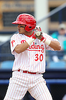 Reading Phillies shortstop Freddy Galvis #30 at bat during a game against the New Hampshire Fisher Cats at FirstEnergy Stadium on May 5, 2011 in Reading, Pennsylvania.  New Hampshire defeated Reading by the score of 10-5.  Photo By Mike Janes/Four Seam Images