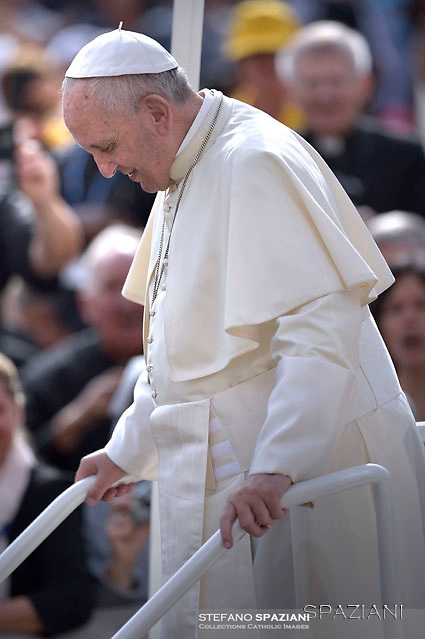 Pope Francis during of a weekly general audience at St Peter's square in Vatican. on September 21, 2016.