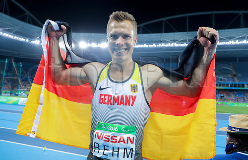 17.09.2016. Rio de Janeiro, Brazil. Markus Rehm of Germany celebrates his gold medal in Men's Long Jump - T44 Final during the Rio 2016 Paralympic Games, Rio de Janeiro, Brazil, 17 September 2016.