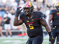 College Park, MD - SEPT 23, 2017: Maryland Terrapins defensive lineman Cavon Walker (5) celebrates a tackle in the back field during game between Maryland and UCF at Capital One Field at Maryland Stadium in College Park, MD. (Photo by Phil Peters/Media Images International)