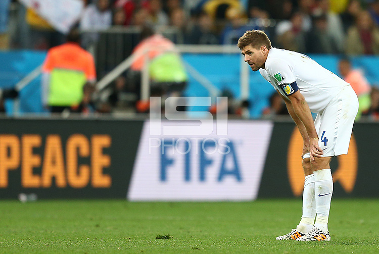 Steven Gerrard of England shows a look of dejection at full time following defeat to Uruguay