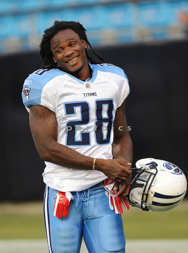 CHRIS JOHNSON, of the Tennessee Titans, in action during the Titans game against the Carolina Panthers  at Bank of America Stadium in Charlotte, North Carolina on Saturday, August 28, 2010.   The Panthers  would defeat the Titans 15-7....