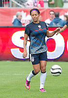 02 June 2013: U.S Women's National Soccer Team forward Sydney Leroux #2 in action during the warm-up in an International Friendly soccer match between the U.S. Women's National Soccer Team and the Canadian Women's National Soccer Team at BMO Field in Toronto, Ontario.<br /> The U.S. Women's National Team Won 3-0.
