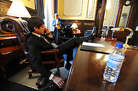 Illinois Governor Rod Blagojevich speaks on the phone with his wife Patti after speaking in his own defense at his impeachment hearing at the state capitol in Springfield, Illinois on January 29, 2009.  He later said his wife cried during this conversation.