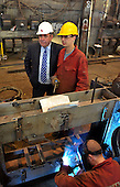 Visit of Alex Salmond to Steel Engineering in Renfrew - here watching the work of and chatting to fabrication apprentice Martin Whitelaw - Picture by Donald MacLeod - 27.04.11 - 07702 319 738 - www.donald-macleod.com