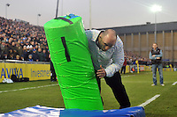 David Flatman in action at the BT Sport Smash-o-meter during half-time. Aviva Premiership match, between Bath Rugby and Exeter Chiefs on November 30, 2013 at the Recreation Ground in Bath, England. Photo by: Patrick Khachfe / Onside Images