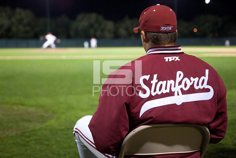 STANFORD, CA - February 23, 2011: The Stanford baseball team during Stanford's home opener against California at Sunken Diamond. Stanford won 3-2.