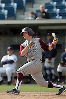 Troy Stein #6 of the Texas A&M Aggies bats against the Pepperdine Waves at Eddy D. Field Stadium on March 23, 2012 in Malibu,California. Texas A&M defeated Pepperdine 4-0.(Larry Goren/Four Seam Images)