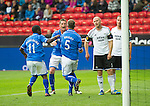 Rosenborg v St Johnstone....18.07.13  UEFA Europa League Qualifier.<br /> FRAZER WRIGHT CELEBRATES WITH GARY MACDONALD AND NIGEL HASSELBAINK AS MIKAEL DORSIN REACTS<br /> Picture by Graeme Hart.<br /> Copyright Perthshire Picture Agency<br /> Tel: 01738 623350  Mobile: 07990 594431