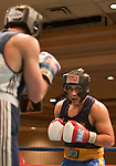 February 3, 2012:   Nevada boxer Anthony Donohue, left, fights against Cal boxer Jose Jiminez in the 165 pound weight class at the Eldorado Convention Center on Friday night in Reno, Nevada.  Jiminez won the fight when the referee stopped the contest in the third round.