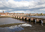 Historic stone bridge crossing River Tweed, Berwick-upon-Tweed, Northumberland, England, UK