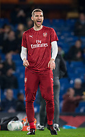 Per Mertesacker of Arsenal laughs pre match during the Carabao Cup semi final 1st leg match between Chelsea and Arsenal at Stamford Bridge, London, England on 10 January 2018. Photo by Andy Rowland.