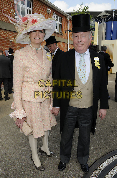 Lady & Sir Julian Fellowes .At Day 1 of Royal Ascot, Ascot Racecourse, Ascot, Berkshire, England, UK, 14th June 2011..full length married couple husband wife beige nude peach  hat jacket dress black top tails tailcoat suit blue tie grey gray trousers waistcoat shirt green holding hands .CAP/CAN.©Can Nguyen/Capital Pictures.