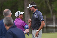 DJ, an avid golf fan and friend of Bubba Watson (USA) congratulates Bubba on the 12th green after winning the  World Golf Championships, Dell Match Play, Austin Country Club, Austin, Texas. 3/25/2018.<br /> Picture: Golffile | Ken Murray<br /> <br /> <br /> All photo usage must carry mandatory copyright credit (&copy; Golffile | Ken Murray)