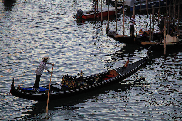 Gondoliers in Venice, Italy, Europe.