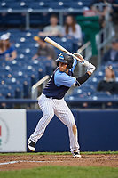 Trenton Thunder first baseman Brandon Wagner (13) at bat during a game against the New Hampshire Fisher Cats on August 19, 2018 at ARM & HAMMER Park in Trenton, New Jersey.  New Hampshire defeated Trenton 12-1.  (Mike Janes/Four Seam Images)