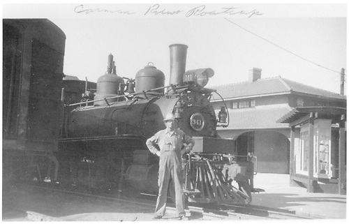 Close-up view of #341 at depot with trainman standing in front.  Last narrow gauge train at Montrose.  See RD035-091 for 3x5 print.<br /> D&amp;RGW  Montrose, CO