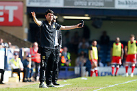 MK Dons manager, Dan Micciche remonstrates during the Sky Bet League 1 match between Southend United and MK Dons at Roots Hall, Southend, England on 21 April 2018. Photo by Carlton Myrie.