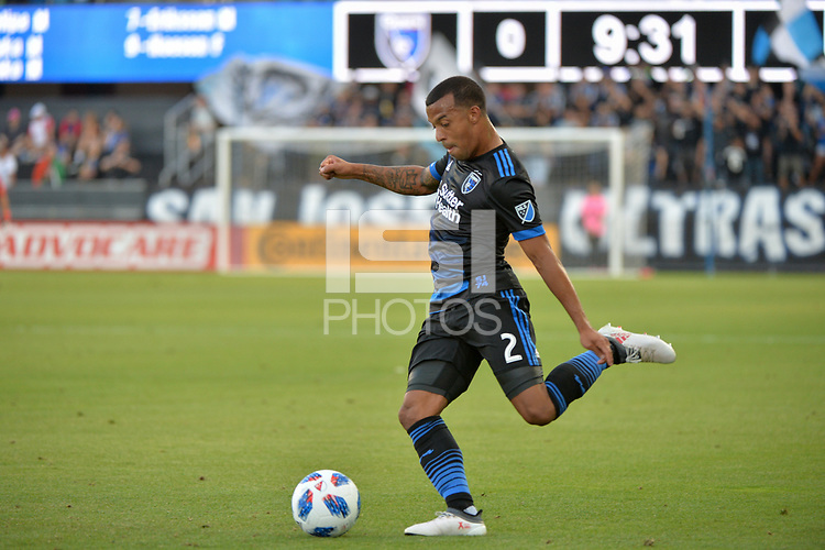 San Jose, CA - Saturday August 18, 2018: Joel Qwiberg during a Major League Soccer (MLS) match between the San Jose Earthquakes and Toronto FC at Avaya Stadium.