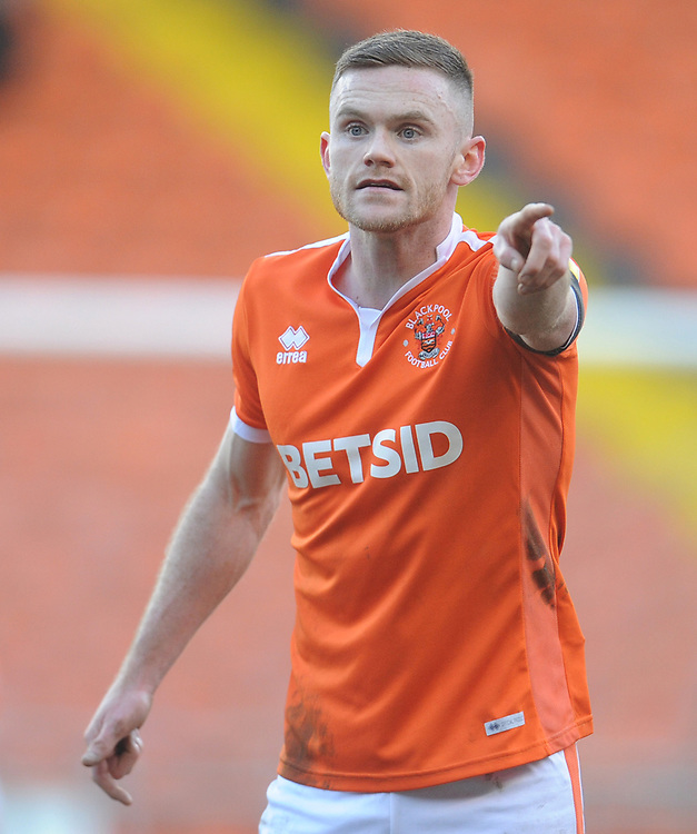 Blackpool's Oliver Turton<br /> <br /> Photographer Kevin Barnes/CameraSport<br /> <br /> The EFL Sky Bet League One - Blackpool v Walsall - Saturday 9th February 2019 - Bloomfield Road - Blackpool<br /> <br /> World Copyright &copy; 2019 CameraSport. All rights reserved. 43 Linden Ave. Countesthorpe. Leicester. England. LE8 5PG - Tel: +44 (0) 116 277 4147 - admin@camerasport.com - www.camerasport.com