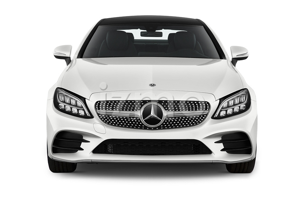 Car photography straight front view of a 2019 Mercedes Benz C-Class AMG-Line 2 Door Coupe Front View