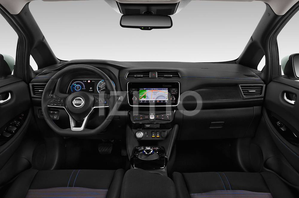 Stock photo of straight dashboard view of a 2018 Nissan Leaf SV 5 Door Hatchback