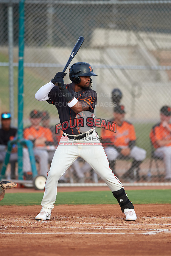 AZL Giants Black Richgelon Juliana (10) at bat during an Arizona League game against the AZL Giants Orange on July 19, 2019 at the Giants Baseball Complex in Scottsdale, Arizona. The AZL Giants Black defeated the AZL Giants Orange 8-5. (Zachary Lucy/Four Seam Images)