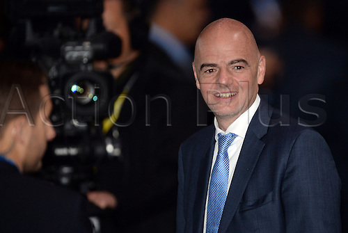 26.02.2016. Zurich, Switzerland.  UEFA General Secretary Gianni Infantino arrives at the event prior to the Extraordinary FIFA Congress 2016 at the Hallenstadion in Zurich, Switzerland, 26 February 2016. The Extraordinary FIFA Congress is being held in order to vote on the proposals for amendments to the FIFA Statutes and choose the new FIFA President.