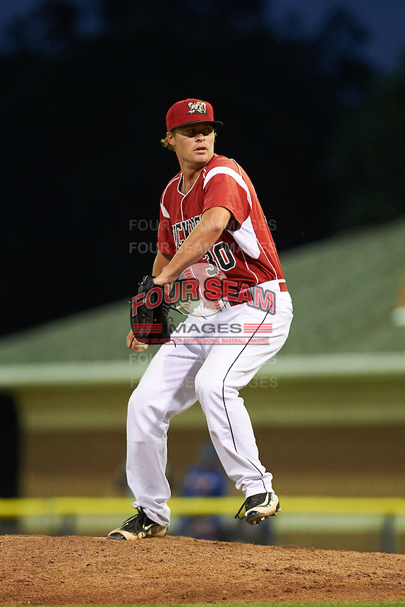 Batavia Muckdogs relief pitcher Brent Wheatley (30) during a game against the Brooklyn Cyclones on July 5, 2016 at Dwyer Stadium in Batavia, New York.  Brooklyn defeated Batavia 5-1.  (Mike Janes/Four Seam Images)