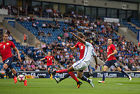 Marcus Rashford (Manchester United) scores his goal during the International EURO U21 QUALIFYING - GROUP 9 match between England U21 and Norway U21 at the Weston Homes Community Stadium, Colchester, England on 6 September 2016. Photo by Andy Rowland / PRiME Media Images.