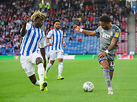 Lincoln City's Bruno Andrade vies for possession with Huddersfield Town's Trevoh Chalobah<br /> <br /> Photographer Chris Vaughan/CameraSport<br /> <br /> The Carabao Cup First Round - Huddersfield Town v Lincoln City - Tuesday 13th August 2019 - John Smith's Stadium - Huddersfield<br />  <br /> World Copyright © 2019 CameraSport. All rights reserved. 43 Linden Ave. Countesthorpe. Leicester. England. LE8 5PG - Tel: +44 (0) 116 277 4147 - admin@camerasport.com - www.camerasport.com