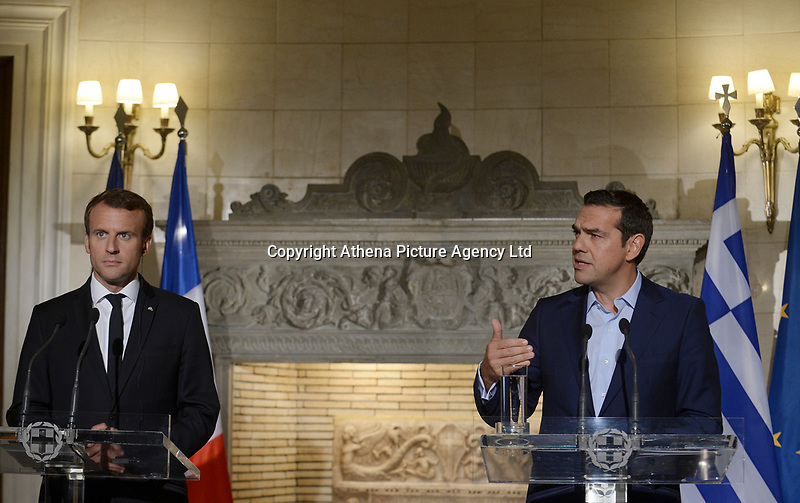 Pictured: (L-R) French President Emmanuel Macron and Greek Prime Minister Alexis Tsipras out of Maximos Mansion in Athens, Greece. Thurday 07 September 2017<br />Re: French President Emmanuel Macron state visit to Athens, Greece.