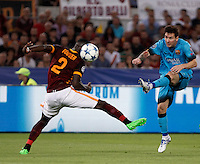 Calcio, Champions League, Gruppo E: Roma vs Barcellona. Roma, stadio Olimpico, 16 settembre 2015.<br /> FC Barcelona&rsquo;s Lionel Messi, right, kicks the ball past Roma&rsquo;s Antonio Ruediger during a Champions League, Group E football match between Roma and FC Barcelona, at Rome's Olympic stadium, 16 September 2015.<br /> UPDATE IMAGES PRESS/Isabella Bonotto