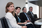 """Belgium, Brussels - April 16, 2015 -- European Dialogue 2015: 'Prosperity in Europe (only if we stop the growing inequality)', jointly held by Hans Böckler Foundation and ETUI (European Trade Union Institute) at 'The Hotel'; here, Workshop 2: Strong worker participation – competitive, sustainable companies / Worker participation as a component of sustainable corporate governance in Europe; Anne-Marie Kortas (le), research fellow of the """"Inequality and Social Policy"""" unit, Berlin Social Science Center (WZB); Lucia Peveri (2.le), Chair of the UILCA Deutsche Bank Italy, UILCA International Area and UNI Europa expert of the Unicredit European Works Council; Dr. Roby Nathanson (2.ri), Director of MACRO – Center for Political Economics (Tel Aviv); Hermann Soggeberg (ri), Chairman of the Unilever European Works Council -- Photo © HorstWagner.eu"""