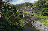 Leisure fun at the seven pools of O'heo at HALEAKALA NATIONAL PARK on Maui in Hawaii, USA
