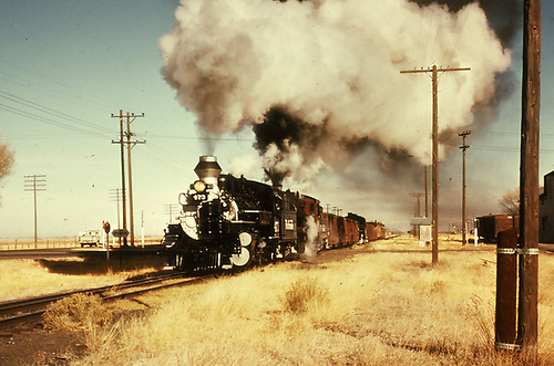 D&amp;RGW #473 leading a double-headed freight at Romeo.  A dead engine is mid-train.<br /> D&amp;RGW  Romeo, CO